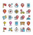 maps and navigation flat design icons vector image