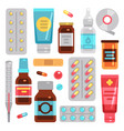 medicine pharmacy drugs pills medicament bottles vector image