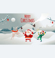 merry christmas holiday poster santa claus vector image vector image