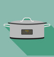 metal cooker icon flat style vector image vector image