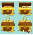 opened and closed antique treasure chest vector image vector image