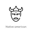 outline native american mask icon isolated black vector image vector image