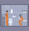 pair of men in prison jail or detention center vector image vector image