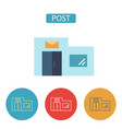 post office building flat icons set vector image vector image