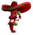 red hot chili peppers in mexican hat sombrero vector image vector image