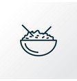 rice bowl icon line symbol premium quality vector image