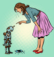 robot broke the phone woman scolds guilty vector image vector image