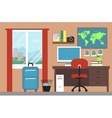 Room interior with window and map vector image vector image