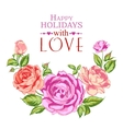 Rose garland in holiday vector image