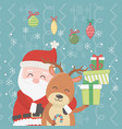 santa hugging reindeer pile gifts and hanging vector image vector image