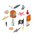 sea icons set isometric 3d style vector image vector image