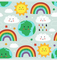 seamless pattern with earthcloud rainbow and sun vector image vector image