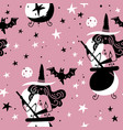 seamless pattern with witches with cauldron moon vector image