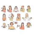 set female characters with dessert cake sketch vector image vector image