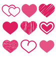 set of nine various cute red heart icon isolated vector image