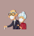 sick old people wearing protective face masks vect vector image vector image