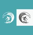 surfing symbol surfer and wave emblem vector image