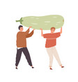 tiny people holding huge organic squash vegans vector image