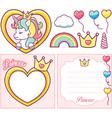 unicorn princess party set vector image