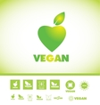 Vegan text logo icon set vector image vector image