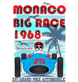 vintage race car for printing old school race post vector image vector image