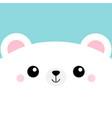 white bear head face square icon cute cartoon vector image vector image