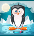 winter landscape cartoon penguin characters vector image vector image