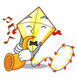 with trumpet cute kite flying the on mascot vector image vector image
