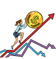 woman businesswoman roll a usa dollar coin up vector image vector image