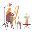 woman drawing picture hoblady with brush vector image vector image