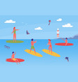 young people spending time together on beach vector image vector image