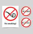 Sketch no smoking poster and lables vector image
