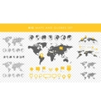Big set of maps and globes Pins collection vector image