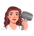 avatar young brunette holding hair dryer in vector image vector image