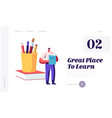 back to school knowledge website landing page vector image vector image