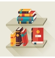 Card with books on bookshelves in flat design vector image vector image
