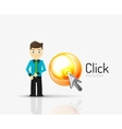 Cartoon businessman asking to click on glossy vector image