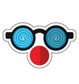 cartoon clown glasses and red nose vector image
