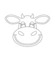 cartoon cow face lining draw front view vector image