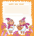 christmas card with cute sheept vector image vector image