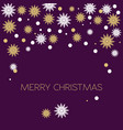 christmas frame with snow-flakes white and gold vector image vector image
