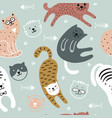 cute cats childish seamless pattern vector image vector image