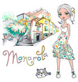 cute fashion girl in manarola italia vector image vector image