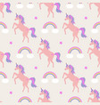 cute seamless pattern with unicorns rainbows and vector image vector image