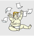 donald trump the big baby with messy papers vector image vector image