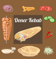 doner kebab wraped vector image vector image