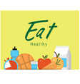 eat healthy food yellow background image vector image vector image