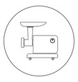 electric meat mincer black icon in circle vector image