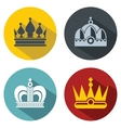 Flat crown icons with long shadow on color