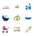 flat icon infant set of bathtub tissue stroller vector image vector image